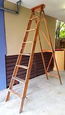 Vintage 8 Ft Timber Step Ladder Large Industrial Wooden Stand