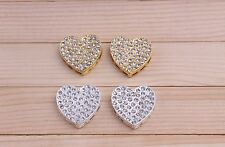 HOT SALE! 10pcs Silver & Gold Heart Pave Crystal Connector Beads Rhinestone DIY