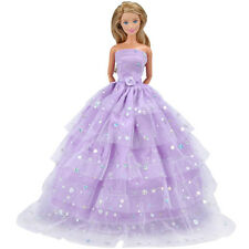Handmade Dolls Clothes Purple Wedding Dress Party Gown Outfit for Barbie Doll S