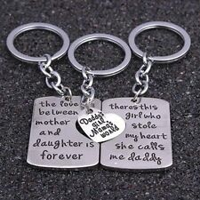 3 PIECE MOTHER FATHER DAUGHTER KEY CHAIN SET CHARM KEY RING DADDYS GIRL