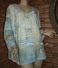 EMMA JAMES rhinestone embellished TUSCANY SUN quality stretch top 1X Bust 52-56""
