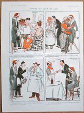 Pavis 1920 Vintage La Vie Parisienne dibujos animados de impresión francés día de Año Nuevo visitas