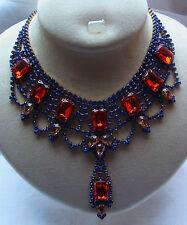 Trachtenschmuck alt Böhmen Jugendstil Collier Kette Necklace Strass  326