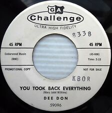 DEE DON 45 you took back everything Out in the cold again '60 TEEN POPCORN e7209