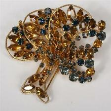 Art Deco DEPOSE (French) Couture Teal & Topaz Gripoix Jeweled Tree Form Clip/Pin