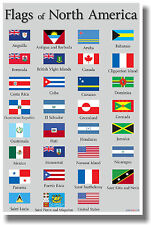 Flags of North America - NEW World Travel Poster