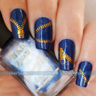 Gold/Sliver Zipper Zips Nail Art Water Transfers Stickers Decals DIY Decoration