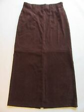 White Stag Ladies Long Skirt 10 Brown Faux Suede Maxi Duster Back Slit A-Line