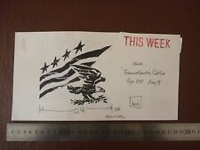 """STARS & STRIPES USA Pen / Ink original by famous 20th C illustrator """"Bill Hewiso"""