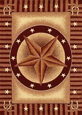 Western Rust Red and Beige Texas Star and Horseshoesl 5X8 Area Rug