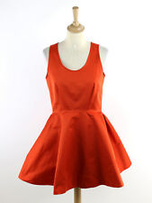 BNWT McQ Alexander McQueenWomens Red Volume Skater Dress Size 40 (Uk 8)