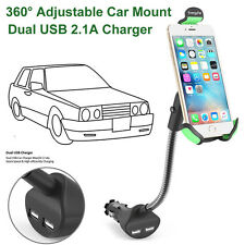 Universal Dual USB Car Charger Mount Cell Mobile Phone Holder Bracket Stands