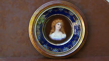 ANTIQUE HAND PAINTED ROYAL VIENNA COBALT BLUE PORTRAIT CABINET PLATE, SIGNED