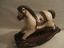 Rocking Horse Table Top Old World Style Plaster Hand Painted W Hearts On Saddle
