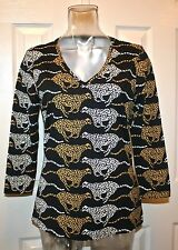 J McLaughlin Catalina Cloth 3/4 Sleeve Top, Animal Print, Black, Small, NWT