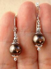 12mm Tahitian Coffee South Sea Shell Pearl Sterling Silver Leverback Earrings