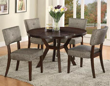 NEW 5PC SOLA ESPRESSO FINISH WOOD ROUND DINING TABLE SET w/ GRAY SIDE CHAIRS