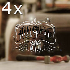 4x pieces Holy Garage Logo sticker decal hot rod old school pinstriping small