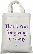 THANK YOU FOR GIVING ME AWAY - SMALL COTTON GIFT / WEDDING PARTY FAVOUR BAG Blue