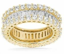 4 carat Round & Baguette Diamond ETERNITY Ring 14k Yellow Gold Band Size 4 F VS