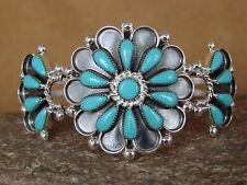 Small Native American Jewelry Sterling Silver Turquoise Cluster Bracelet! Zuni
