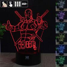 Deadpool 3D Acryl LED 7 Farbe Tischleuchte Tischlampe Nachttischlampe Leselampe