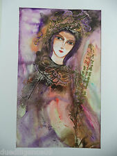 Cuban Cuba Artist Charo Hand SIGNED Painting LADY HODING FLOWER GOLDEN HAVANA 3