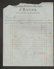 """LIMOGES (87) PORCELAINES BLANCHES & Décorées """"J. BATIER"""" en 1879"""