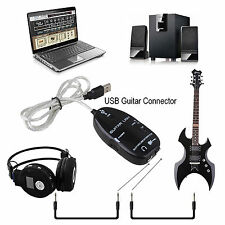 "Guitar To USB Interface Link Audio Cable Adapter Instrument 1/4"" TS Guitar Input"