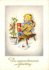 BG20690  boy playing accordion letter flower  birthday  geburtstag   germany