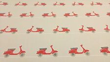 Vespa Ride Scooters Mopeds Scarlet Curtain Craft Upholstery Cotton Fabric