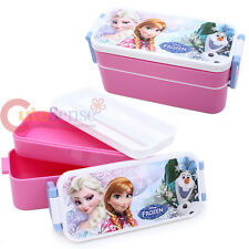 Disney Frozen Lunch Box 2 Tier Elsa Anna Food Container Bento with Chopstic
