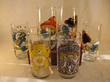 Smurf Care Bear Miss Piggy Character Glasses Cups Set of 6 Vtg Funshine Muppet