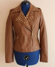 BNWT Brown Studded Faux Leather Jacket Size Medium Approx UK 10 Gold Biker