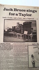 JACK BRUCE MICK TAYLOR CARLA BLEY 1972 3 page UK ARTICLE / clipping