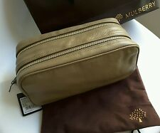 AUTHENTIC NEW MULBERRY MENS TAUPE/KHAKI GRAIN LEATHER MENS TOILETRY BAG