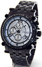 JOJINO JOE RODEO MENS 2.25CT BLACK DIAMOND BLACK TONE CASE METAL BAND + 2 STRAPS