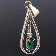 Dainty Swinging Marquise EMERALD & DIAMOND 18ct Solid White GOLD DROP PENDANT