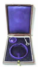 Antique VIntage Victorian Deco Fitted Leather Pocket Watch Box & Key Velvet In