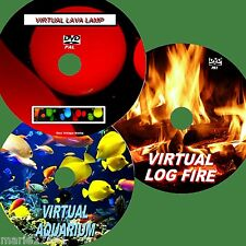 VIRTUAL FISH TANK LOG FIRE +LAVA LAMP 3 GREAT DVDs FOR FLAT SCREEN TV/PC Etc NEW