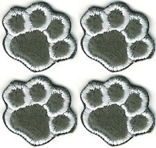 """5/8"""" x 7/8"""" Lot of 4 Gray Grey Furry Cartoon Cat Dog Paw Embroidered Patches"""
