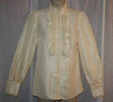 ANNA SUI Beige Victorian Blouse Shirt Top Crochet Detail High Collar Sz XS/S