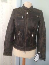 """Brown/black """"Alberte"""" Leather Jacket by CKN of Scandinavia UK 8 EU 34 RRP £250"""