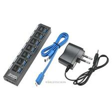 LED 7 Port USB 3.0 Hub W/ High Speed Adapter Cable ON/OFF Switch for Laptop PC
