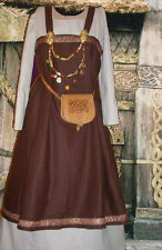 Norse Viking SCA Garb Medieval Costume Apron Kirtle Choc Linen Ivory Cotton L XL
