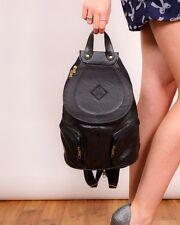 Vintage black leather VIDA PARIS embroidered back pack shoulder bag