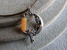 """Sterling Silver Quartz Crystal Moon Lady Pendant Leather Cord Necklace 16"""""""