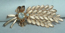 VINTAGE SARAH COVENTRY WHITE RHINESTONE WHEAT GOLD TONE BROOCH PIN IN GIFT BOX