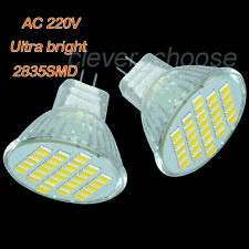 2 x 220V White MR11 30 SMD LED Cabinet Spot Light Lamp Bulb Spotlight 3W 300LM