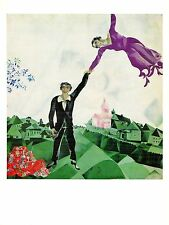 "1972 Vintage MARC CHAGALL ""THE PROMENADE"" FAMOUS LOVERS COLOR offset Lithograph"